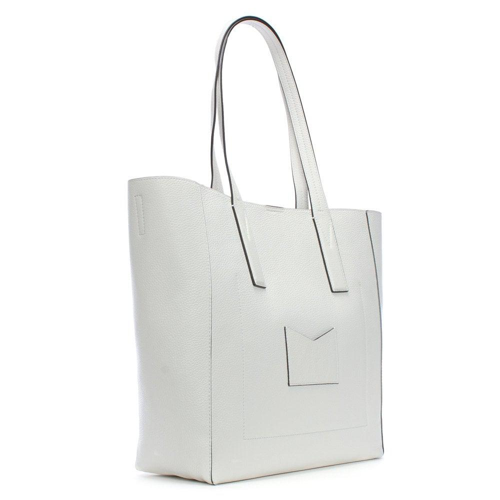 63d4593a04e5 Michael Kors Large Junie Optic White Pebbled Leather Tote Bag in ...