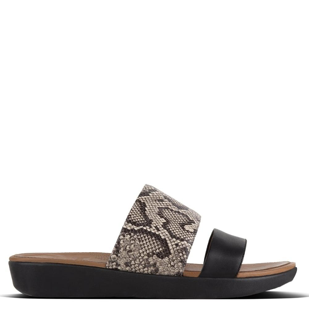 560d8c3ce Fitflop Delta Black Reptile Leather Sliders in Black - Lyst