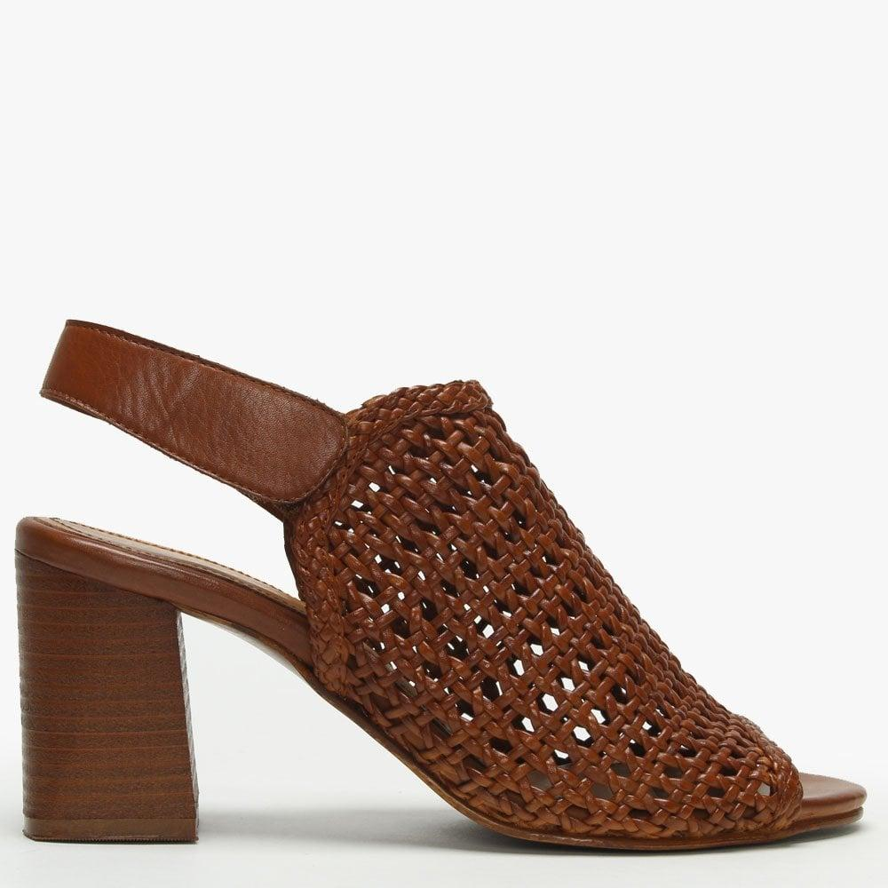 7d0d14281444 Lyst - Daniel Zoina Tan Leather Woven Block Heel Sandals in Brown ...