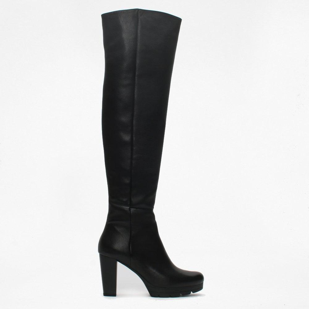 a38e91959f74 Daniel Footwear. Women s Black Leather Low Platform Over The Knee Boots