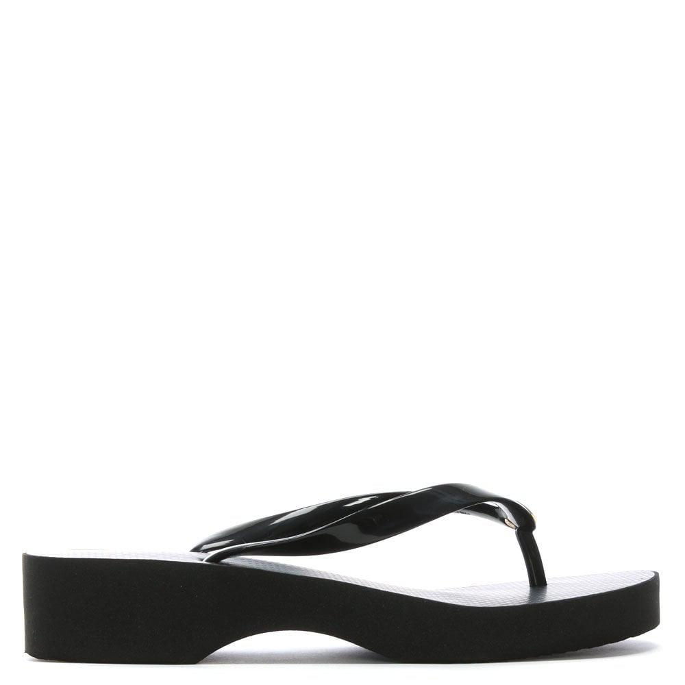 2f7ecd0eb3a022 Tory Burch Black Wedge Toe Post Flip Flops in Black - Save 23% - Lyst