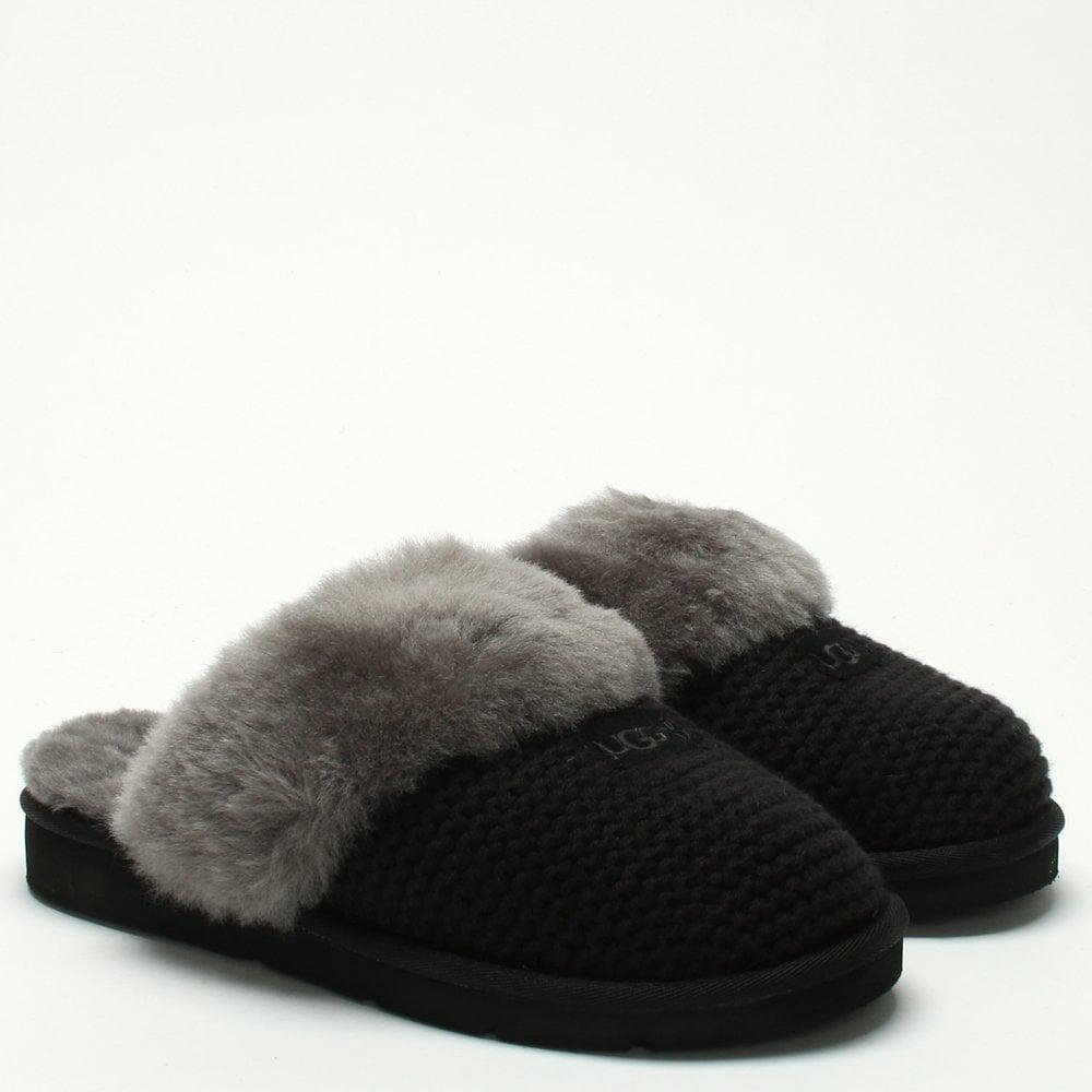76c63c65d Ugg - Cozy Knit Black Sheepskin Slippers - Lyst. View fullscreen