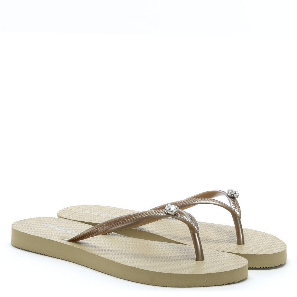 7031c7456a5c4 Lyst - Daniel Elona Gold Jewelled Toe Post Flip Flops in Metallic