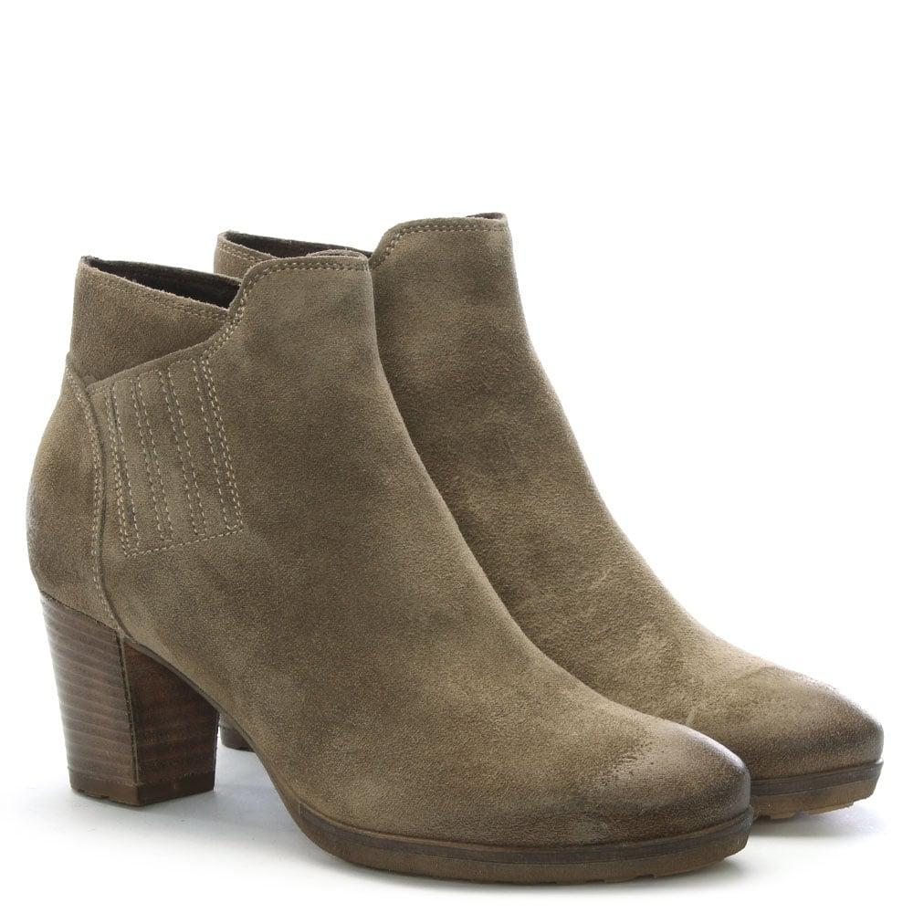22b895aa502 Shoon Taupe Suede Stacked Heel Ankle Boots - Lyst