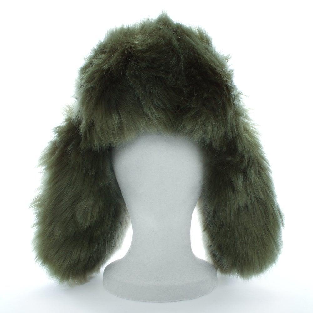 f675b8fe32d Charlotte Simone - Green Helmet Head Khaki Faux Fur Trapper Hat - Lyst.  View fullscreen