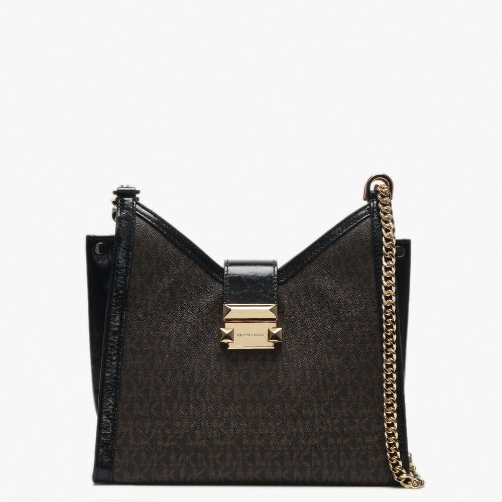 428f04d03925e9 Michael Kors Small Whitney Black & Brown Leather Logo Shoulder Bag ...