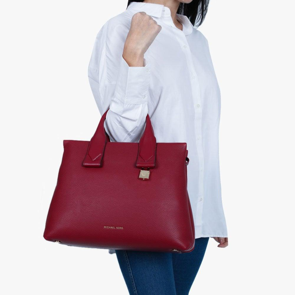 9a3a79f980dd ... sweden michael kors purple large rollins maroon pebbled leather satchel  bag lyst. view fullscreen a0c75