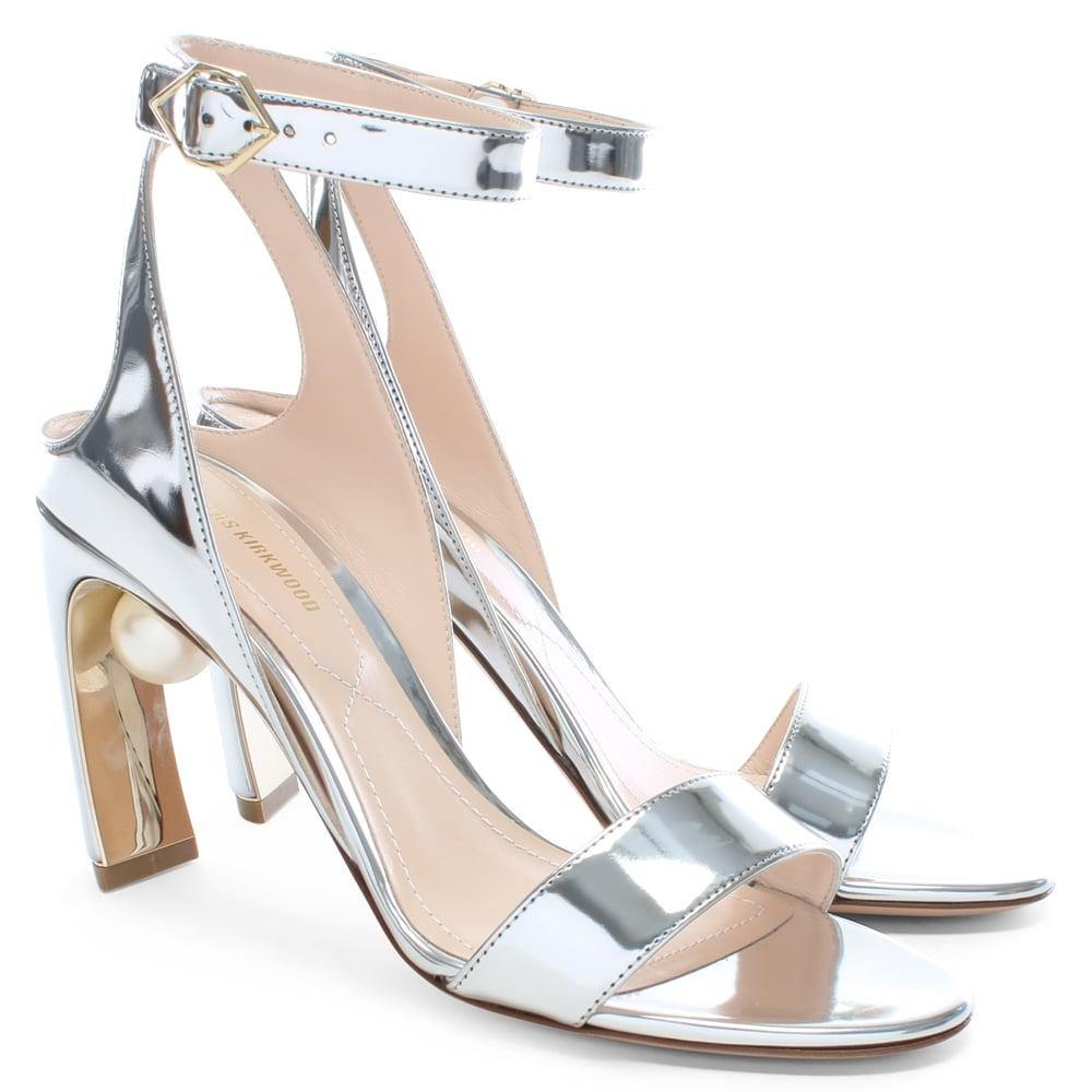 f698d50c23e0 Nicholas Kirkwood - Metallic Lola 90 Pearl Grey Silver Ankle Strap Sandals  - Lyst. View fullscreen