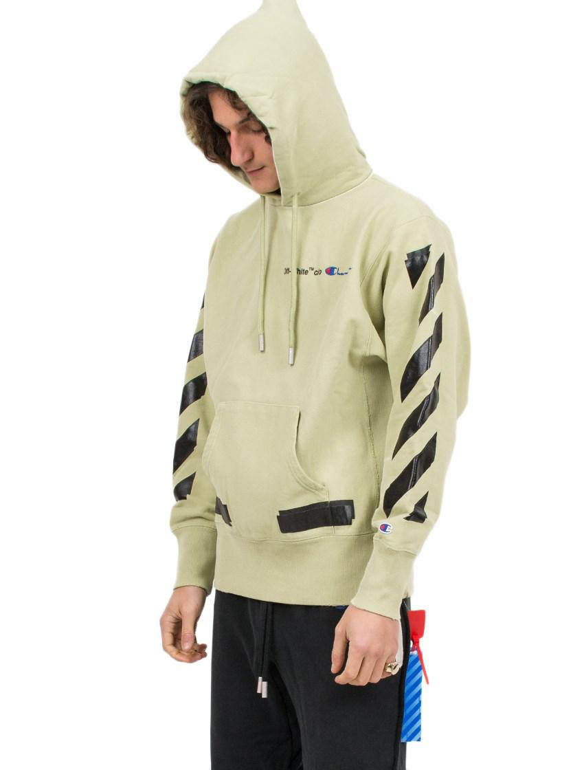 74674309 Off-White c/o Virgil Abloh X Champion Hooded Cotton-blend Sweatshirt ...