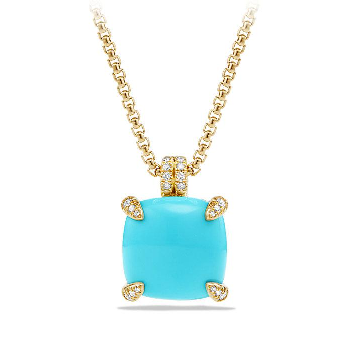 David Yurman 18kt yellow gold Châtelaine turquoise and diamond pendant necklace - Metallic FBqy8JREIB