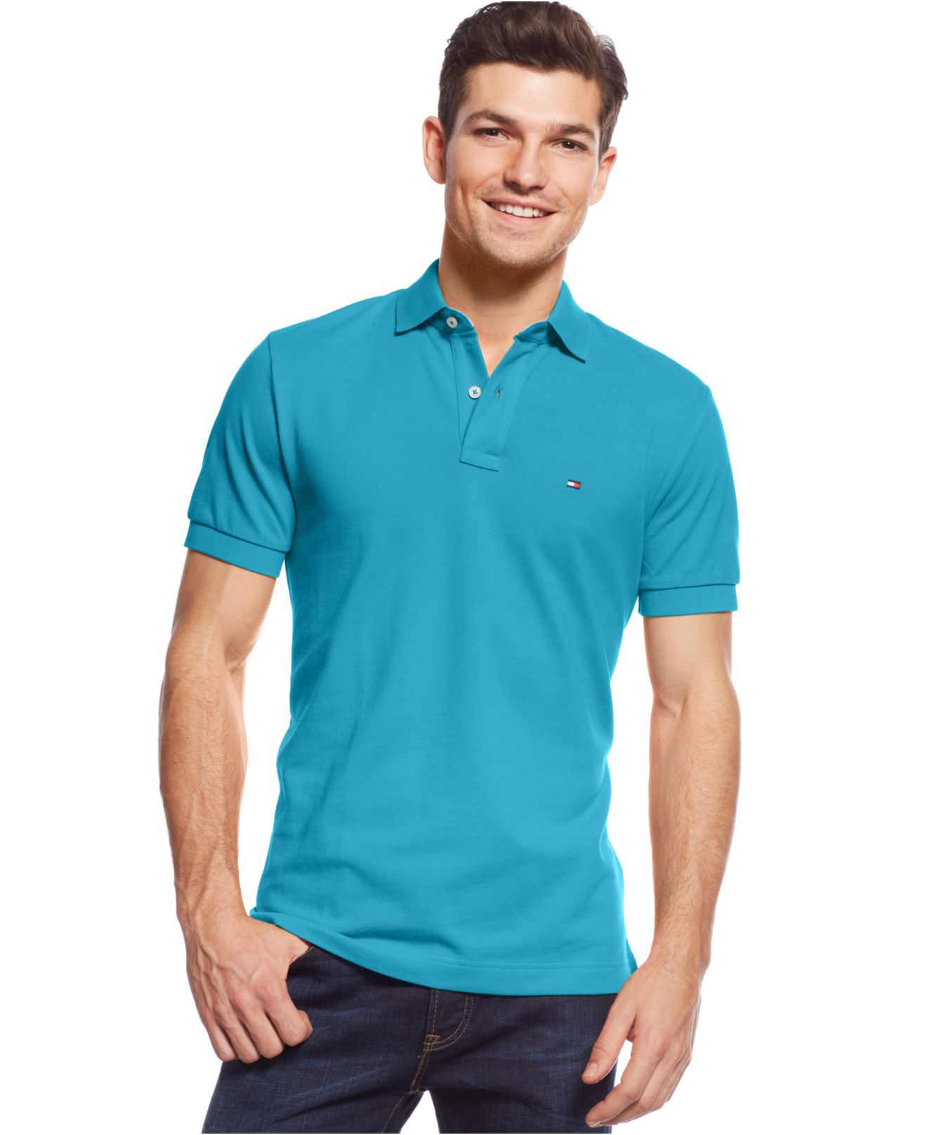 ef85d3a3 Tommy Hilfiger Custom-Fit Ivy Polo in Green for Men - Lyst