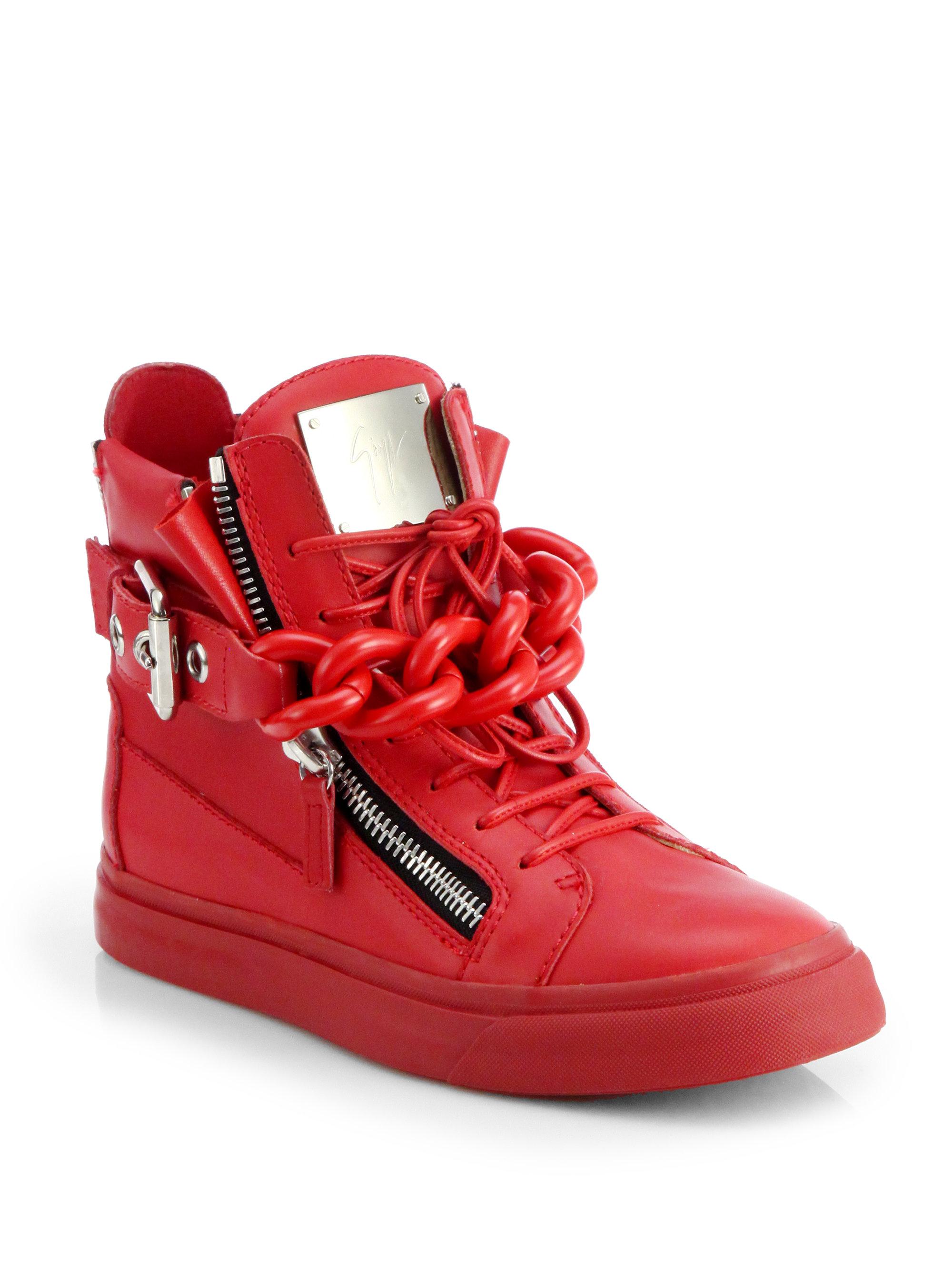 840ac8e93f20b Giuseppe Zanotti Tonal Chain Sneakers in Red - Lyst