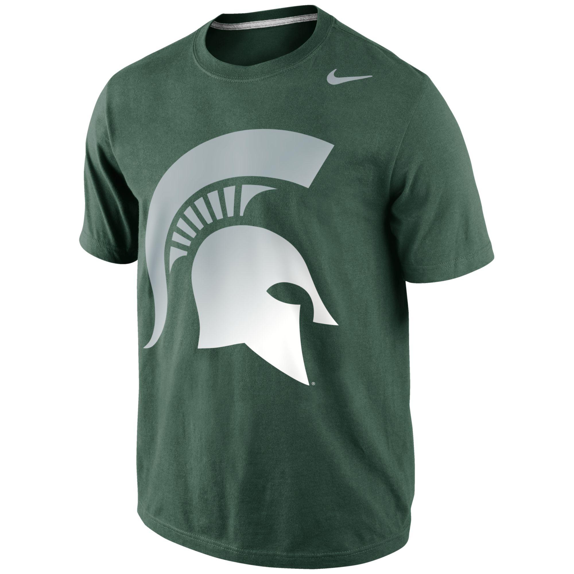 Nike mens michigan state spartans gradient tshirt in green for Michigan state spartans t shirts