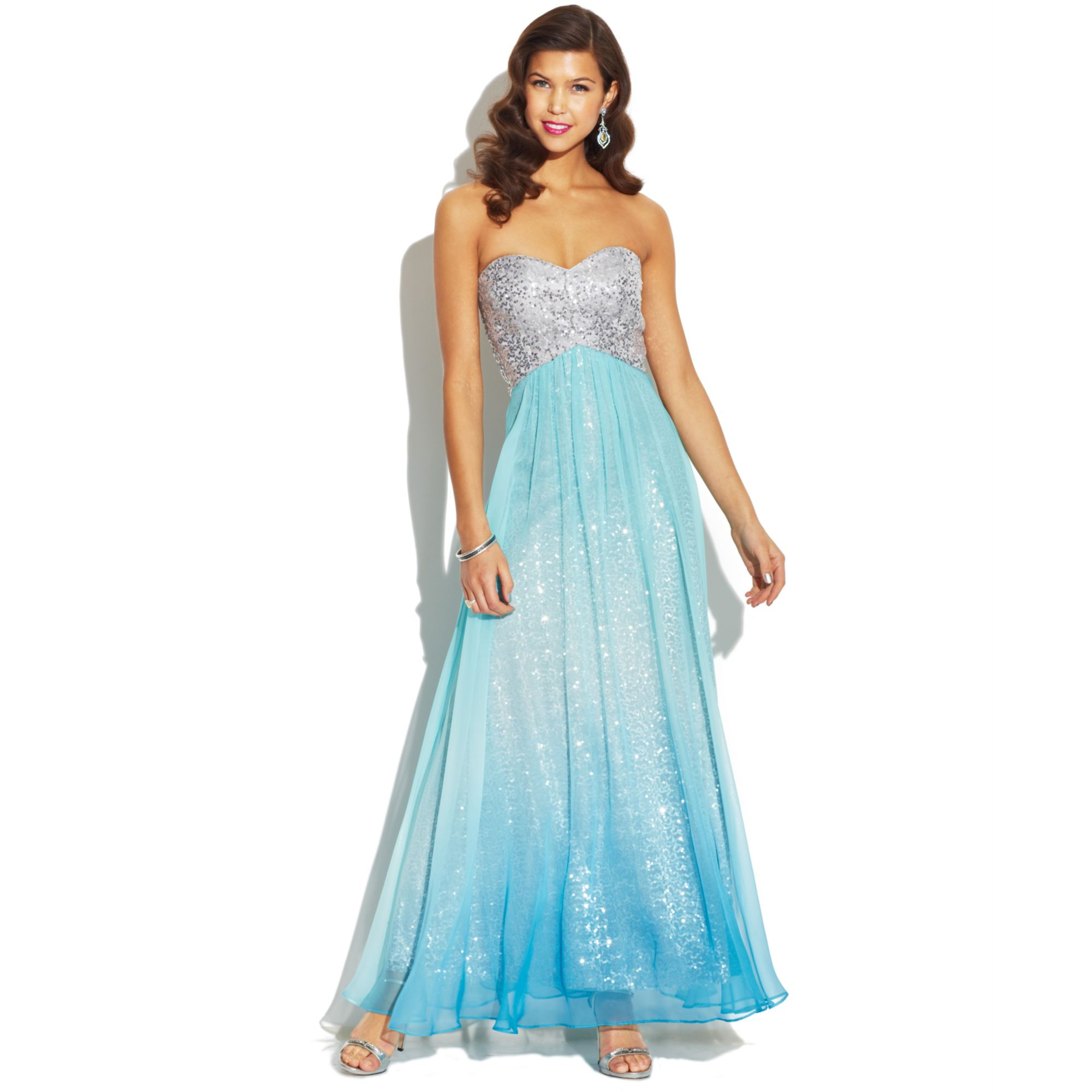 65f7c984823 Jump Juniors Strapless Sequin Ombre Dress in Blue - Lyst