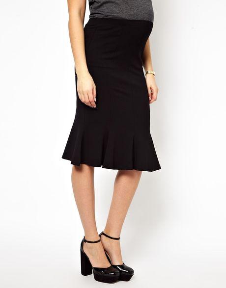 asos maternity fluted hem pencil skirt in black lyst