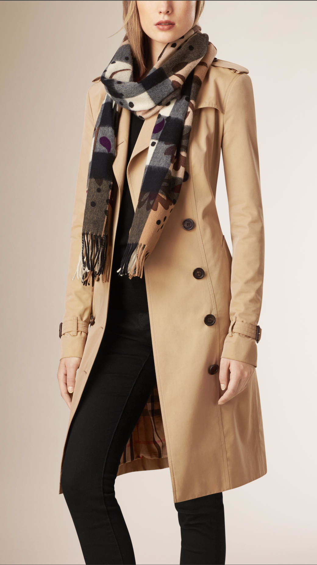 f9e2e39baee1 ... promo code for lyst burberry floral print check cashmere scarf in pink  564df 9ea91 ...