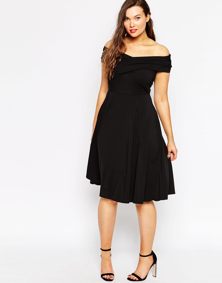 lyst asos midi skater dress with bardot cross front black in black