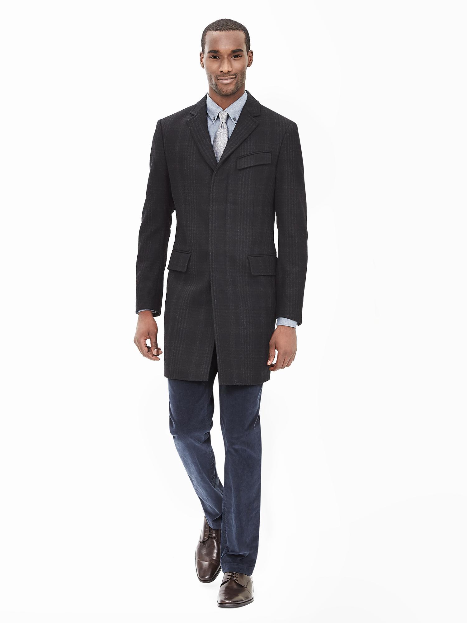 Banana republic Plaid Topcoat in Black for Men (Gray/black) | Lyst