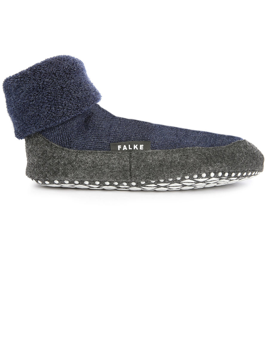 falke navy cosyshoes non slip slippers in wool in blue for