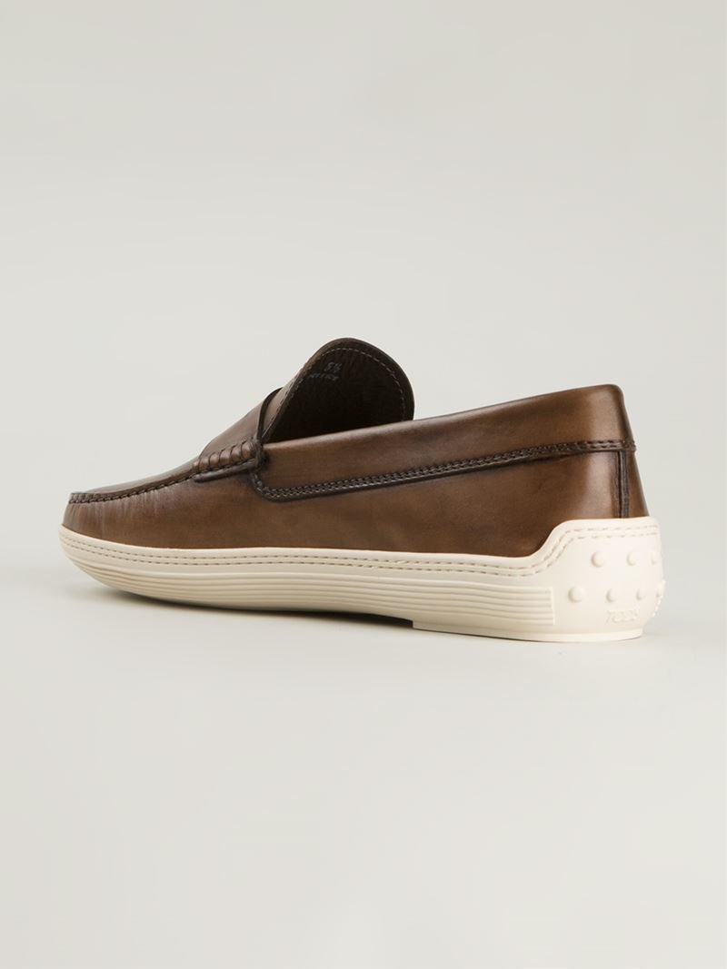 Tod S Rubber Sole Penny Loafers In Brown For Men Lyst