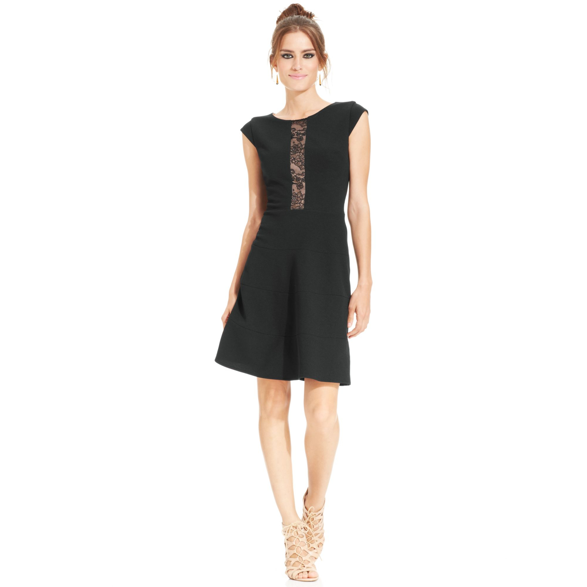 Betsey Johnson Cap Sleeve Lace Panel Dress In Black