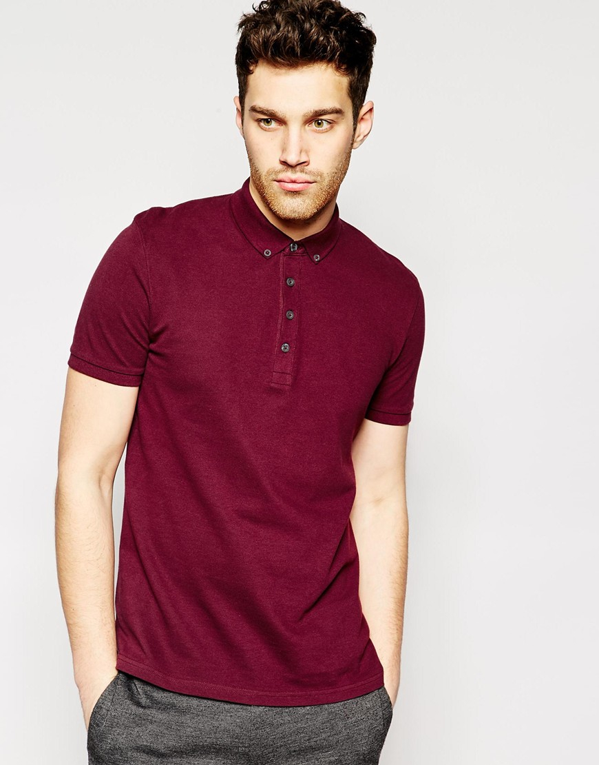 Lyst Asos Polo Shirt In Pique With Button Down Collar In