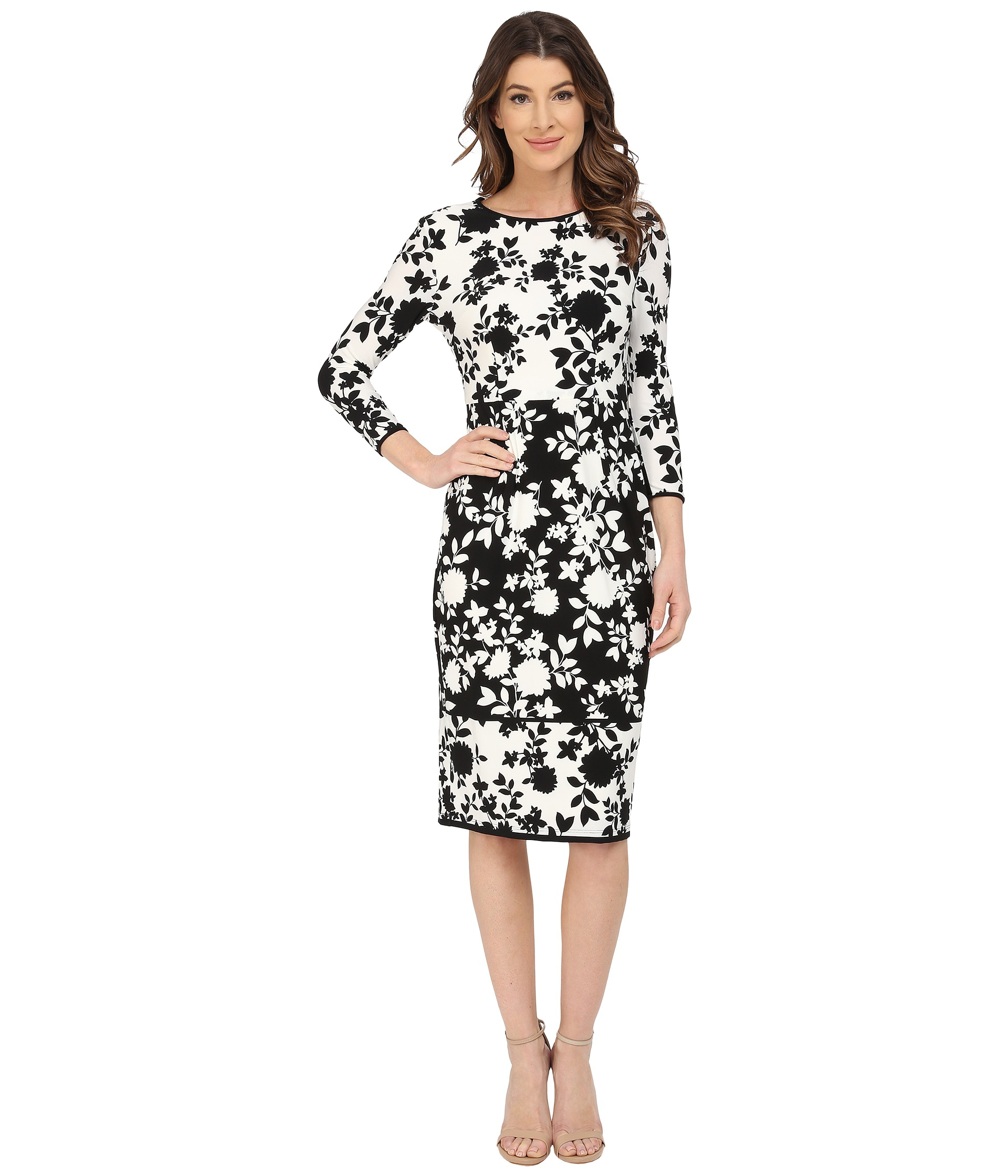 c44a31f718 Lyst - Maggy London Floral-print Matte Jersey Sheath Dress in White