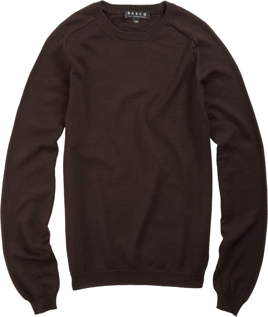 Lyst basco crew neck sweater with tonal flannel elbow for Mens flannel shirt with elbow patches