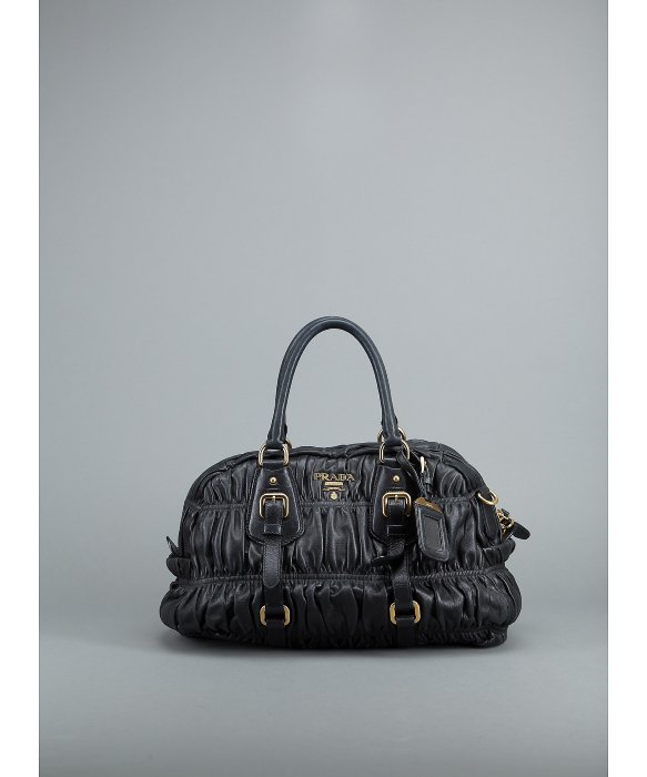 Prada Preowned Black Nappa Gaufre Doctors Bag in Black | Lyst