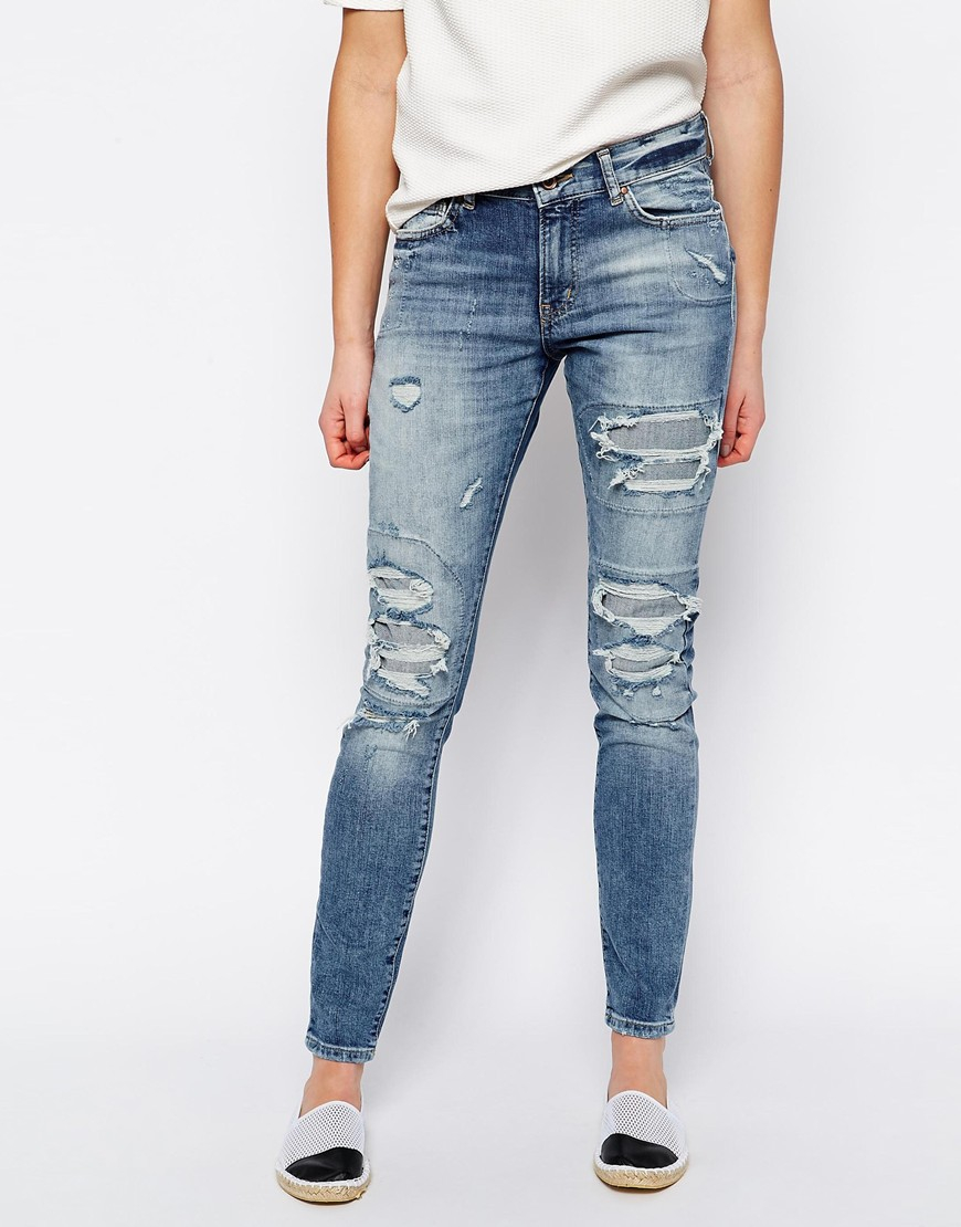 vero moda ripped jeans in blue lyst. Black Bedroom Furniture Sets. Home Design Ideas