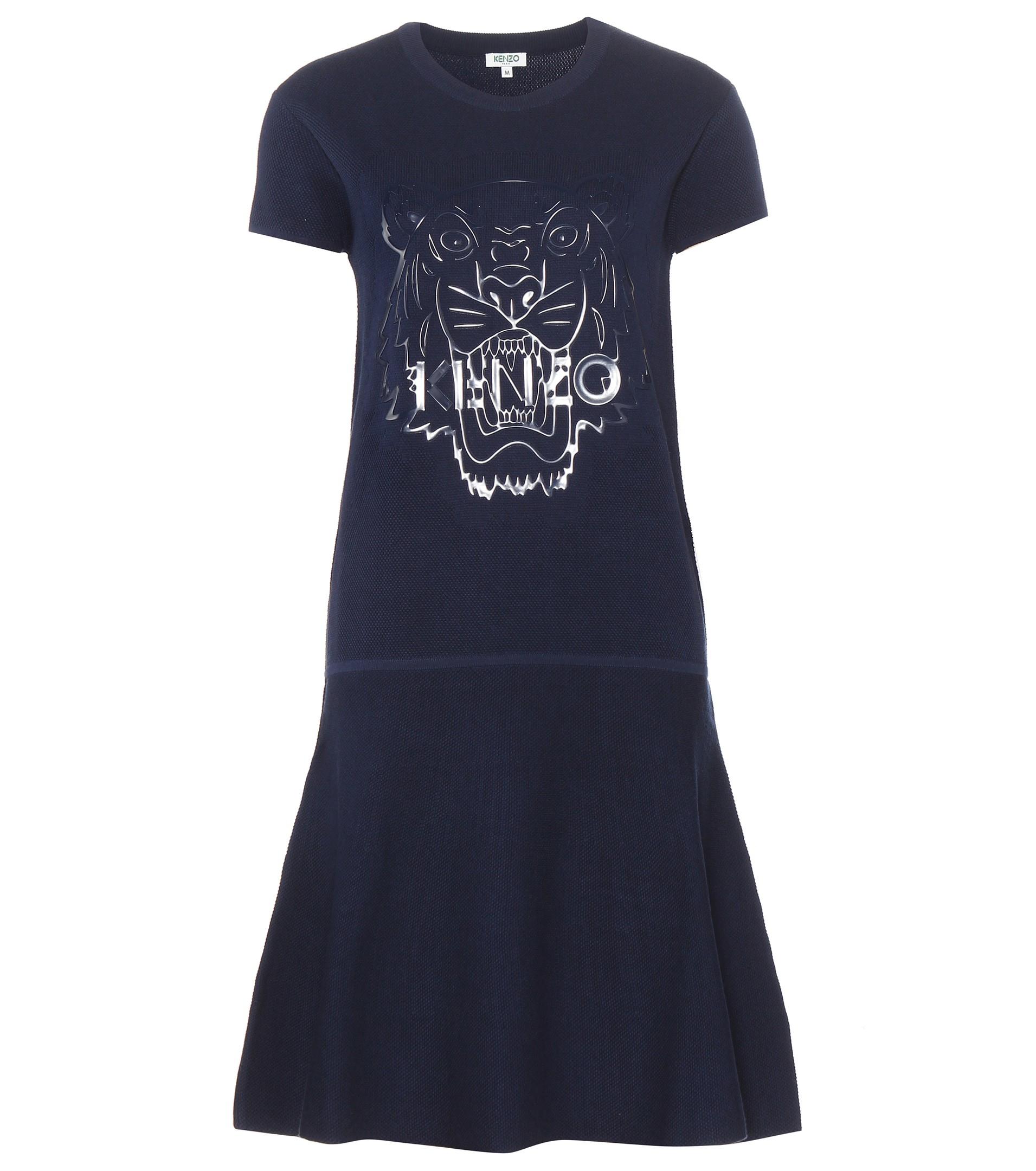 Kenzo Cotton Sweater Dress in Blue | Lyst