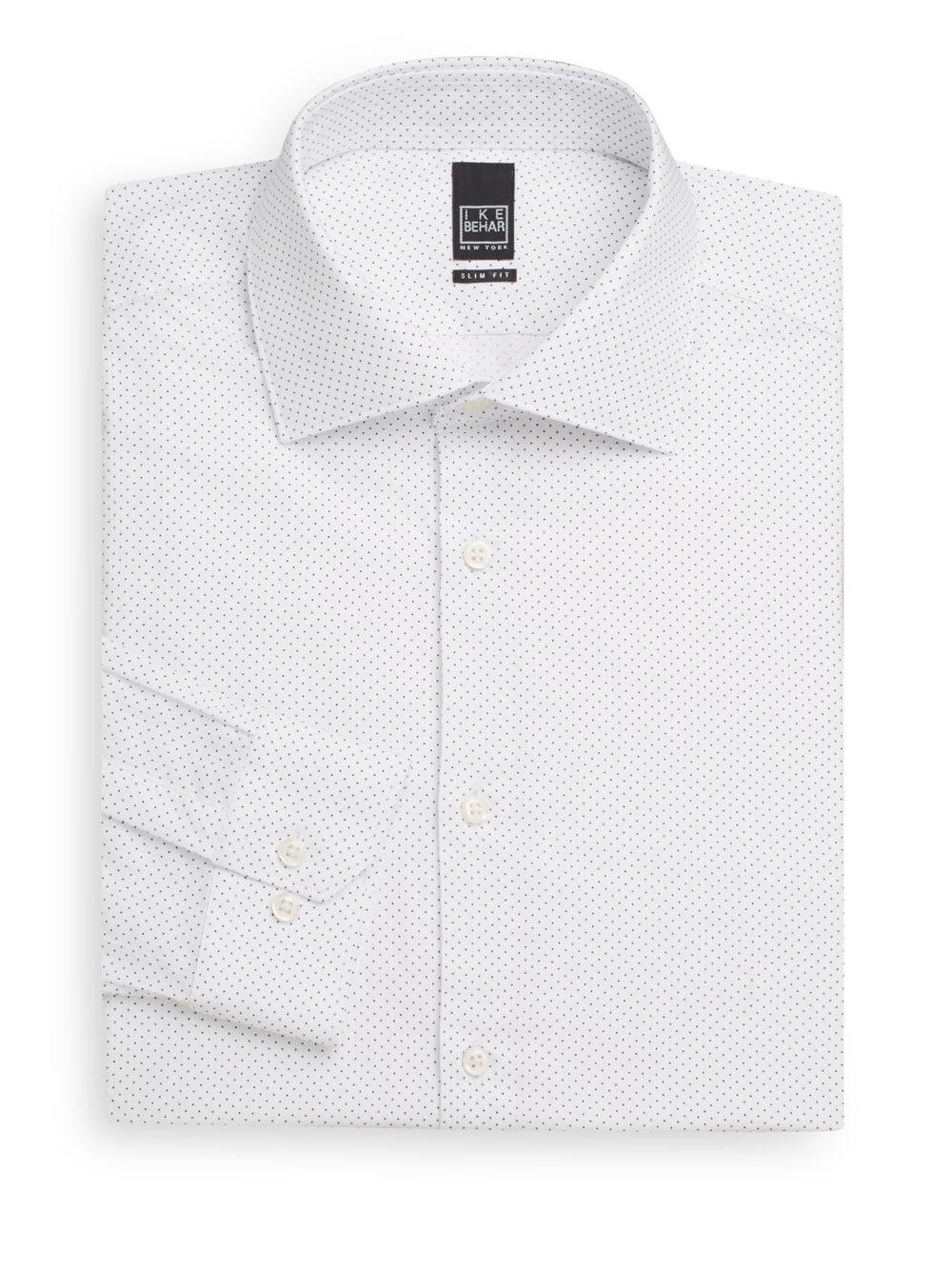 Ike behar slim fit pindot 102 39 s two ply cotton dress shirt for 2 ply cotton dress shirt
