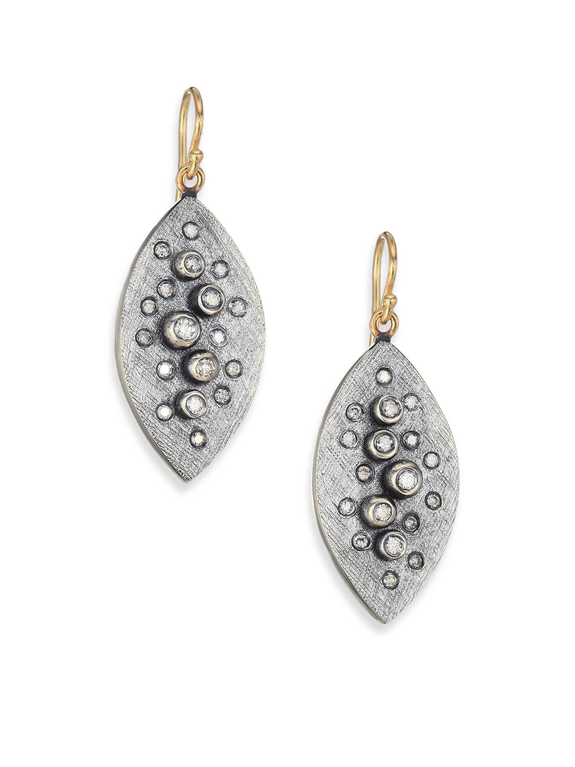 Rene Escobar Diamond Sterling Silver Leaf Drop Earrings In