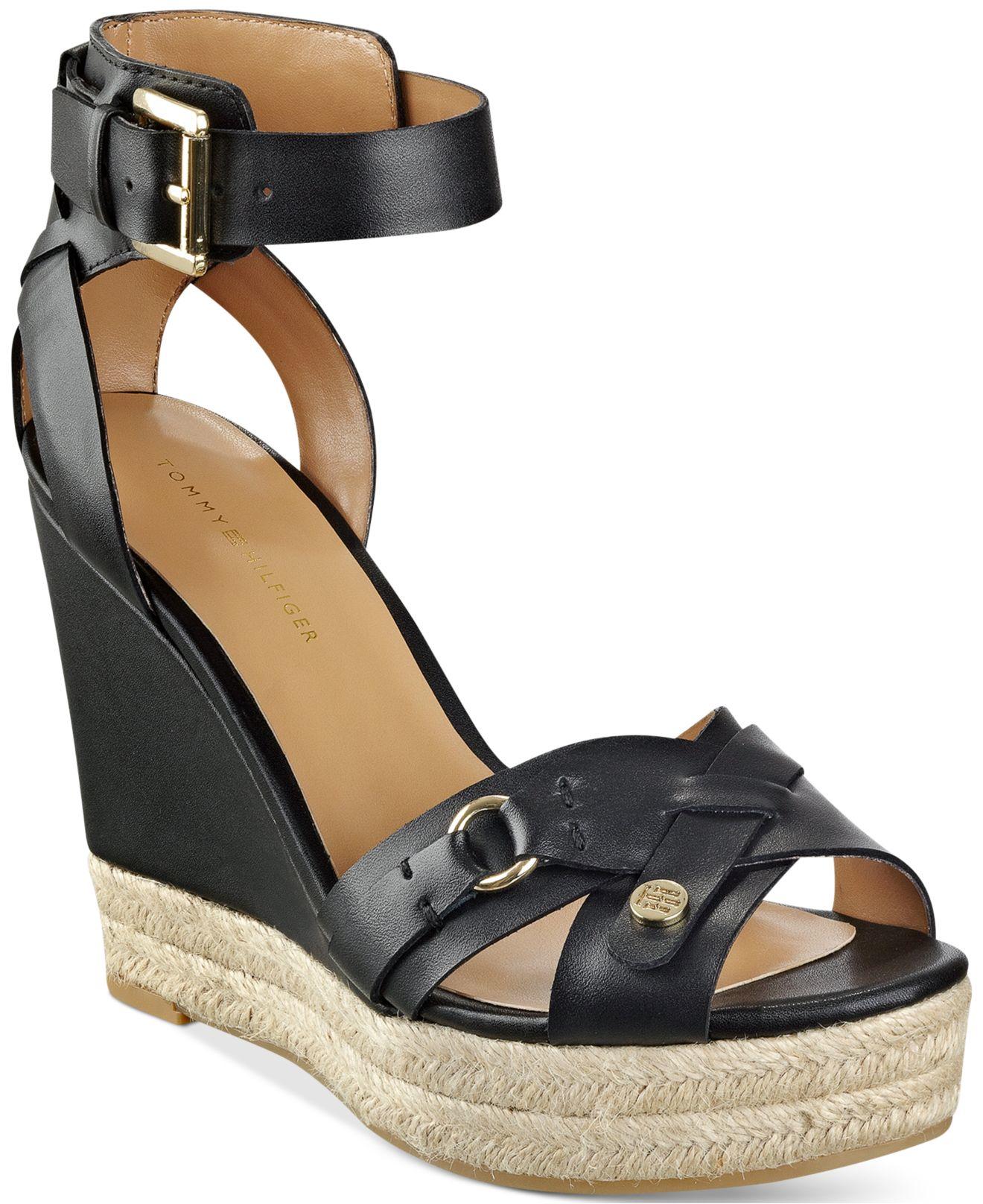 b8c11fec71f8 Lyst - Tommy Hilfiger Velvet Espadrille Platform Wedge Sandals in Black