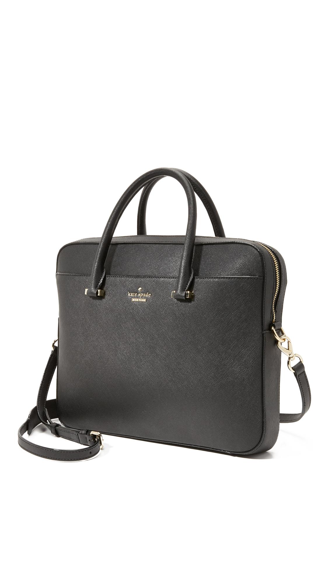 1093f5e408b2 Lyst - Kate Spade 13 Inch Saffiano Laptop Bag - Black in Black