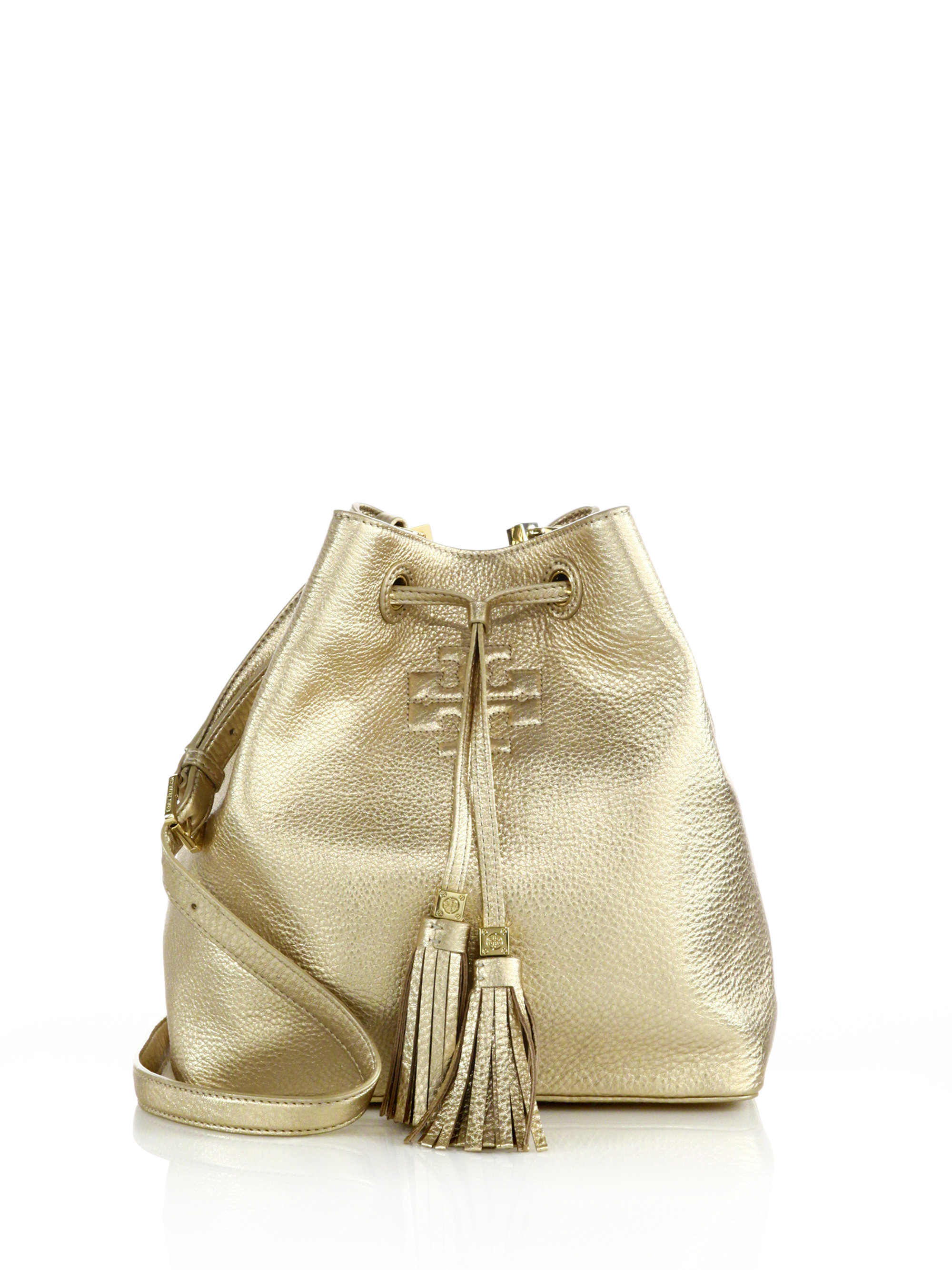 e17b14bb5982 Lyst - Tory Burch Thea Metallic-Leather Bucket Bag in Metallic