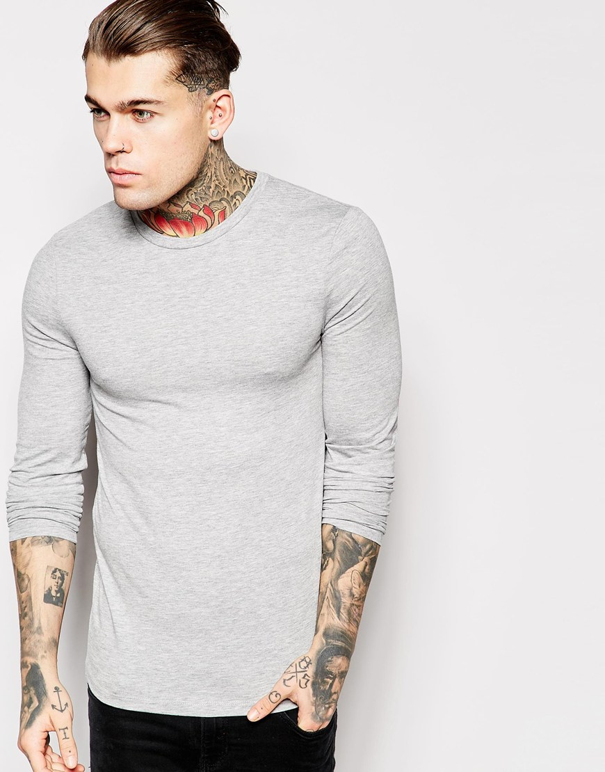 Asos Extreme Muscle Fit Long Sleeve T Shirt With Crew Neck