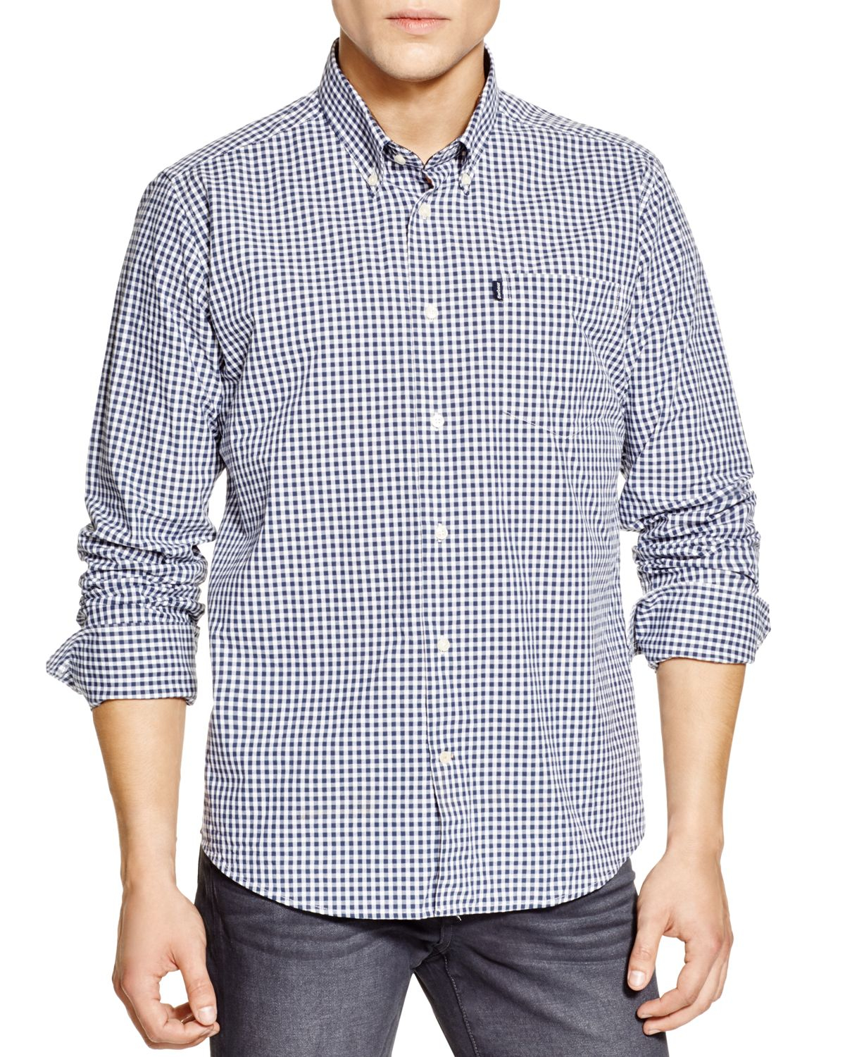 Barbour country gingham regular fit shirt in blue for men for Navy blue gingham shirt