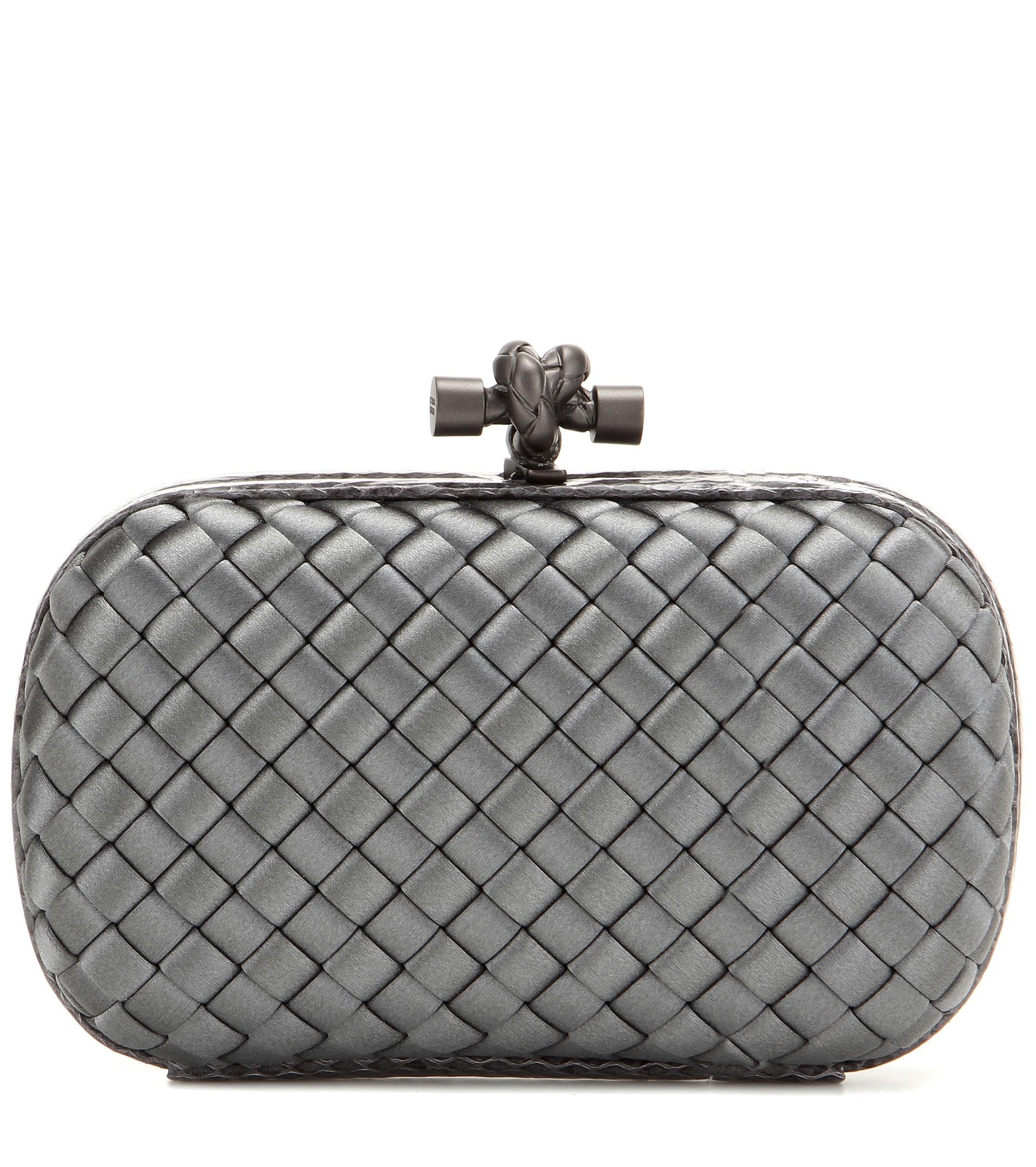 lyst bottega veneta knot satin and snakeskin clutch in gray. Black Bedroom Furniture Sets. Home Design Ideas