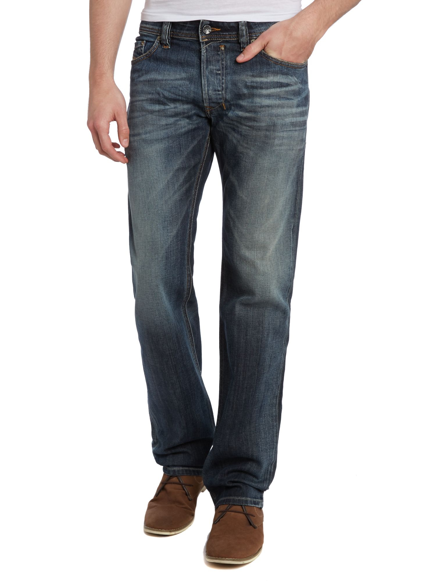 diesel safado 885k straight leg dark grey wash jean in blue for men lyst. Black Bedroom Furniture Sets. Home Design Ideas