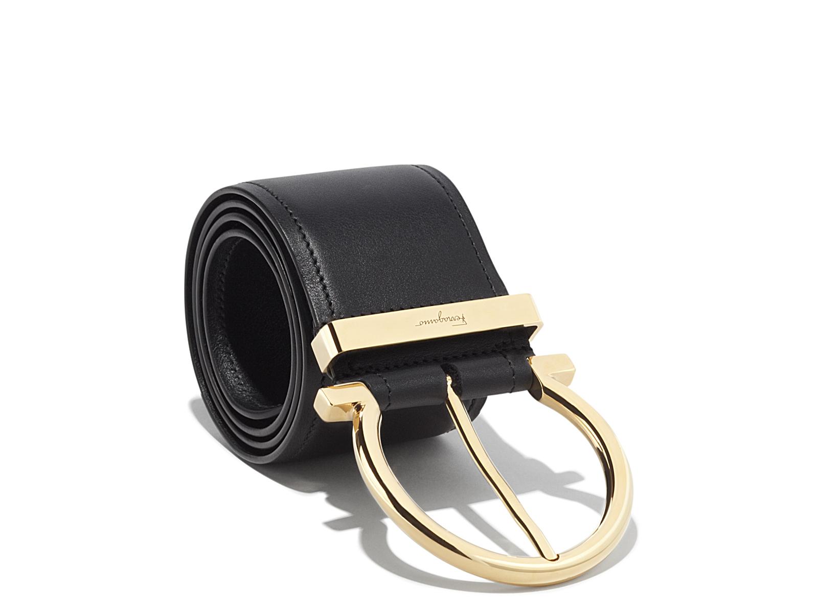 56c5deb3d2c4 Lyst - Ferragamo Oversized Single Gancio Belt in Black