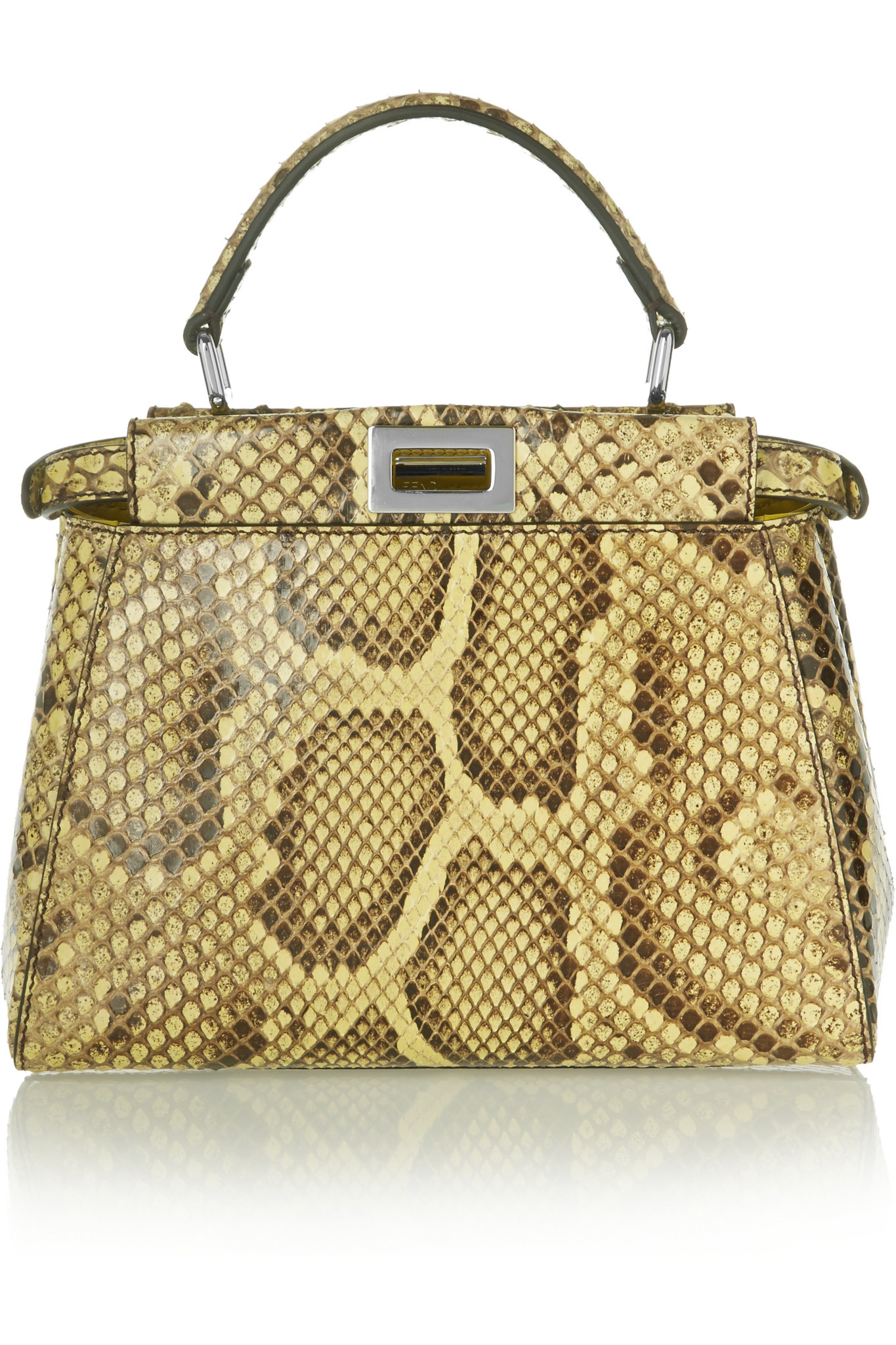 Fendi Peekaboo Mini Python Shoulder Bag in Yellow - Lyst 67cf6b8fa6292