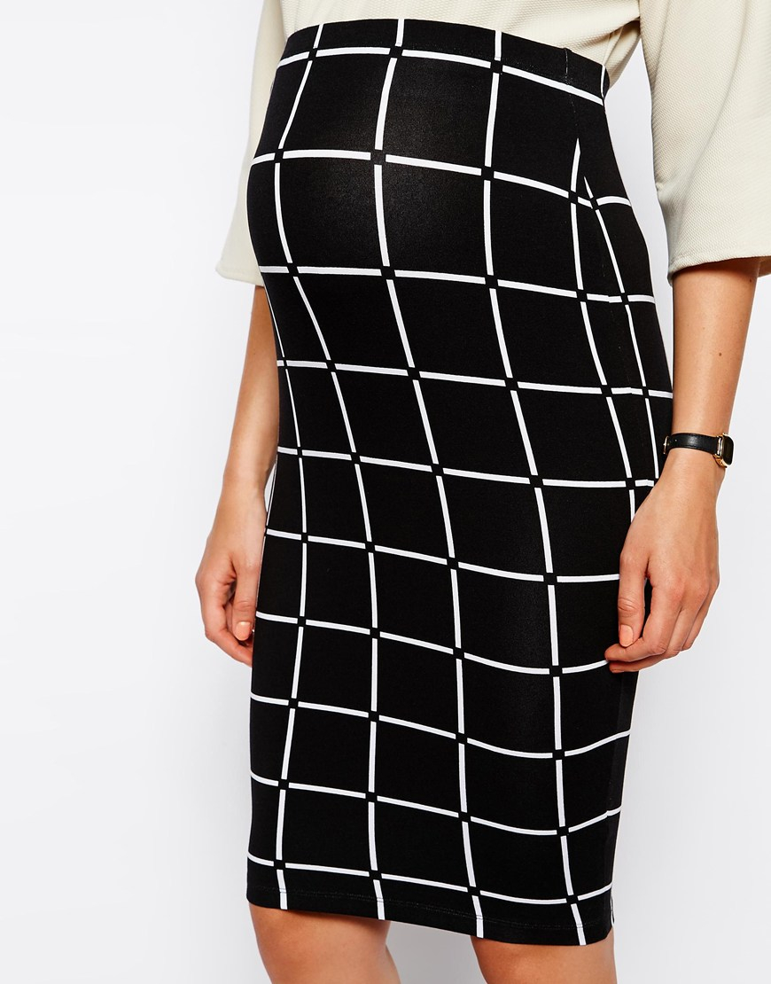 asos exclusive pencil skirt in check print in black lyst