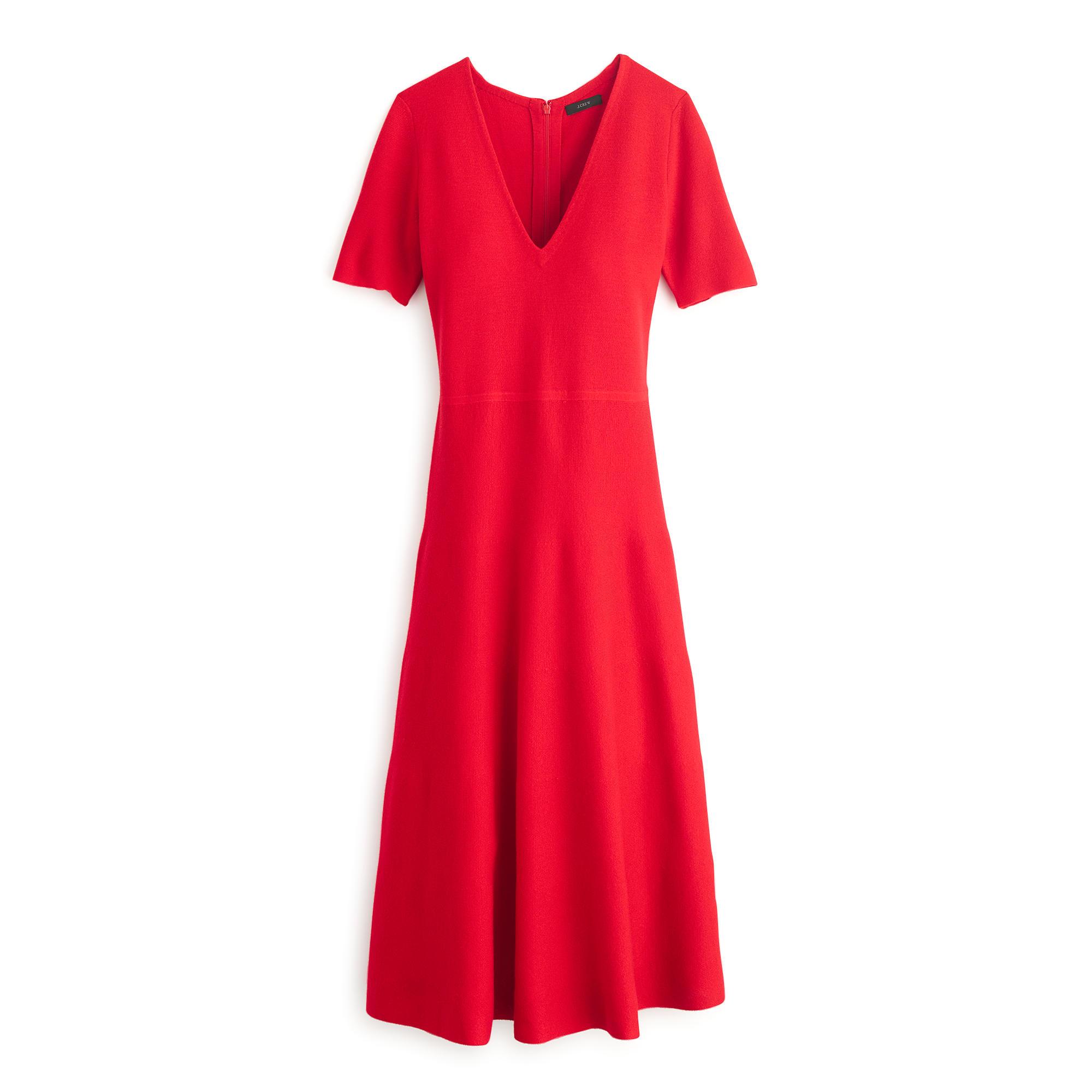 3552dae9a32 Lyst - J.Crew Merino Sweater-dress in Red