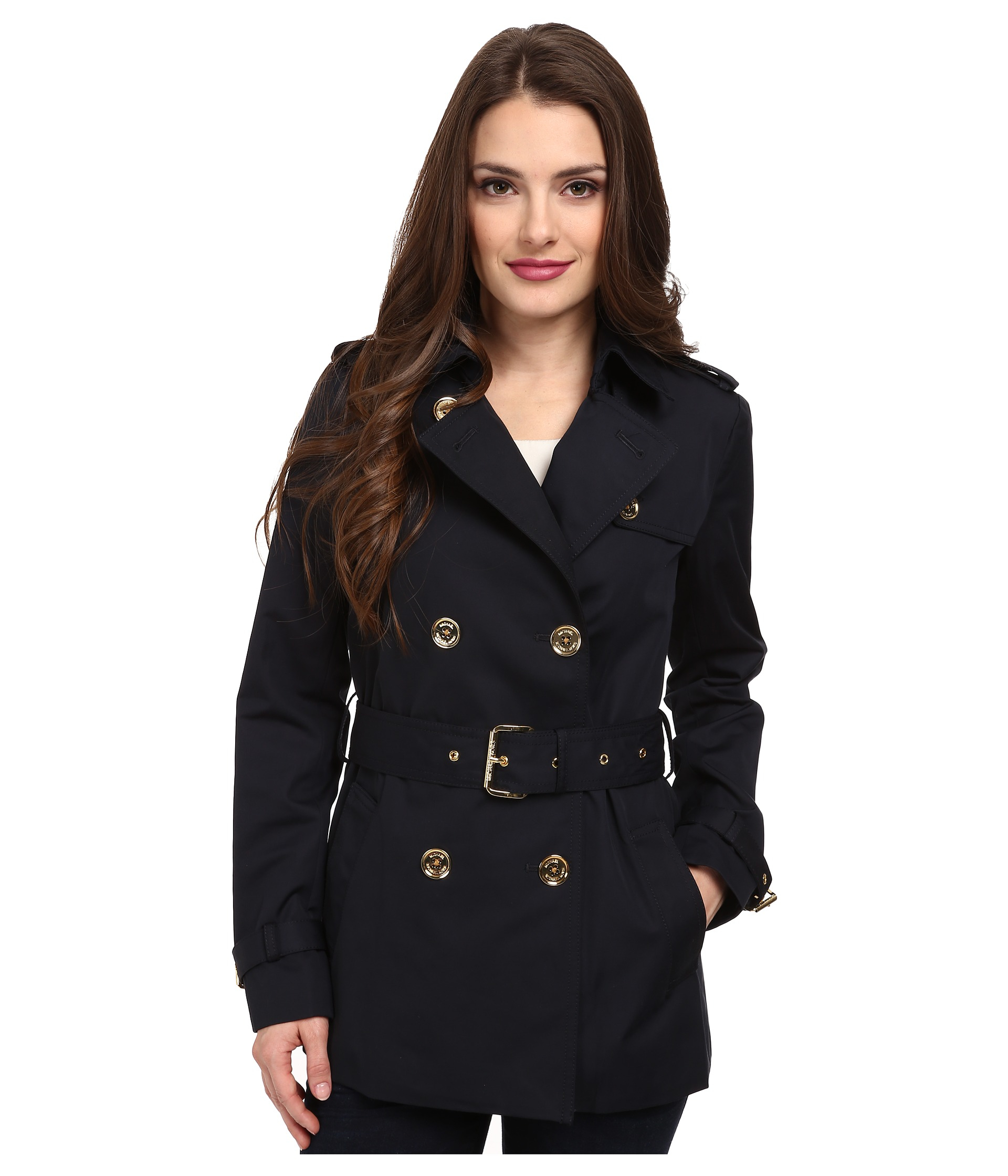 Michael michael kors Petite Short Trench Coat in Blue | Lyst