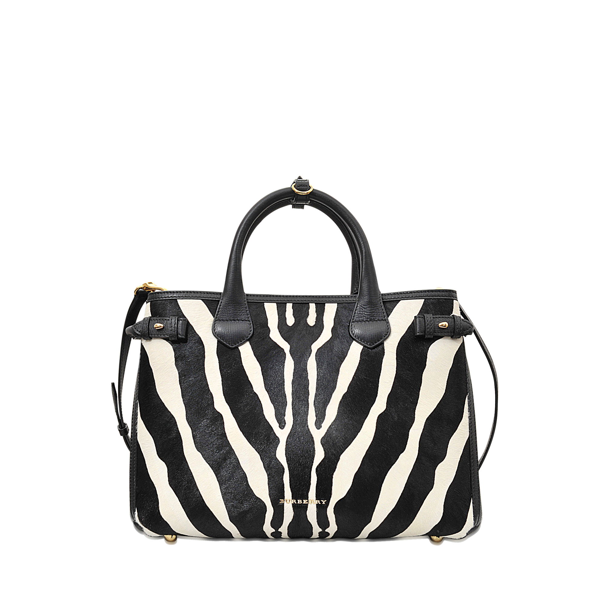 Burberry Md Banner Zebra Printed Bag In Black Lyst