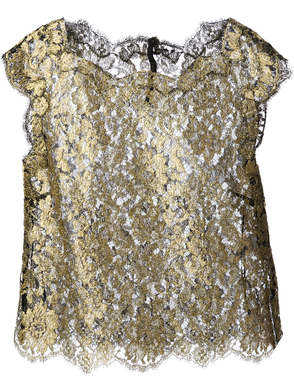 Lyst Dolce Amp Gabbana Lace Top In Metallic