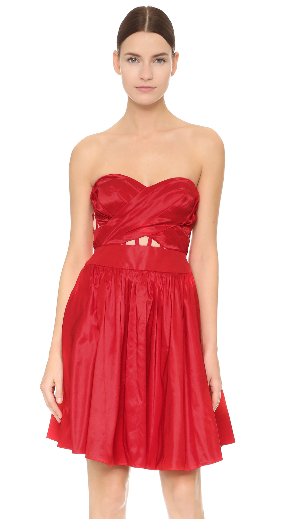 Notte by marchesa Strapless Cocktail Dress in Red - Lyst