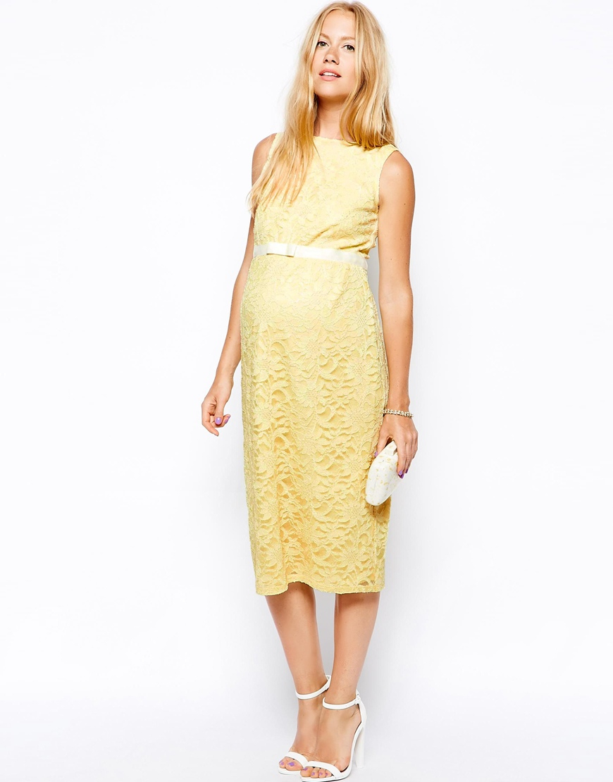 Asos exclusive lace bodycon dress with ribbon detail in yellow lyst gallery ombrellifo Image collections