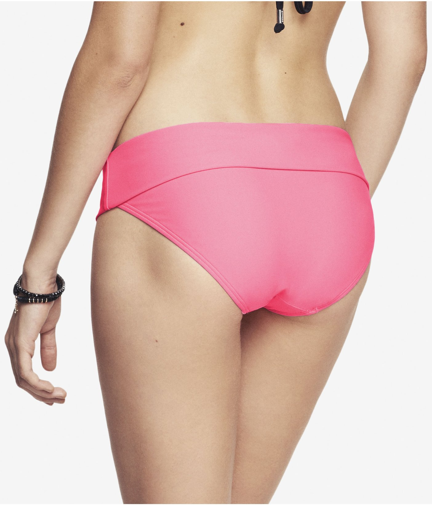 lyst express foldover low rise bikini bottom neon pink in pink. Black Bedroom Furniture Sets. Home Design Ideas